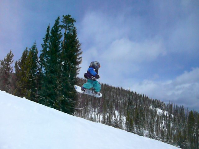 Three year-old Wesley Goes Off a Jump at Winter Park, CO
