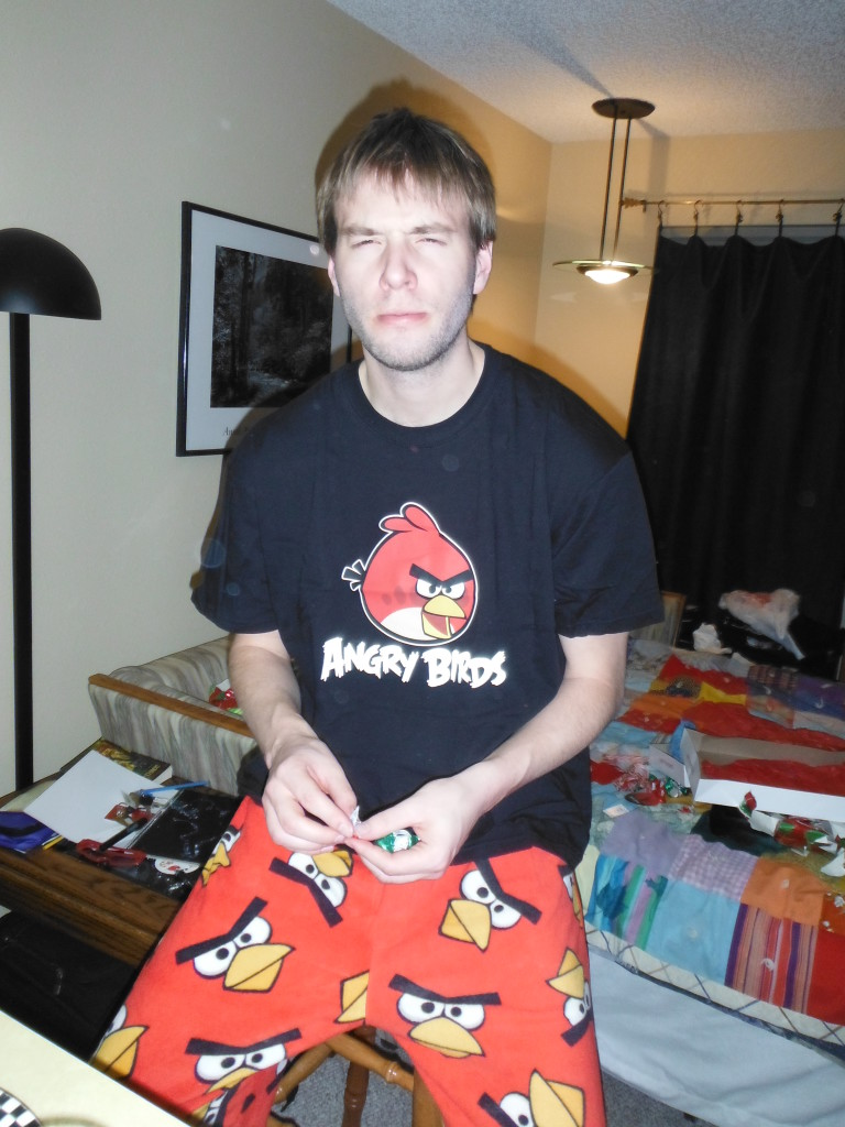 """Chris, being an """"Angry Bird."""""""
